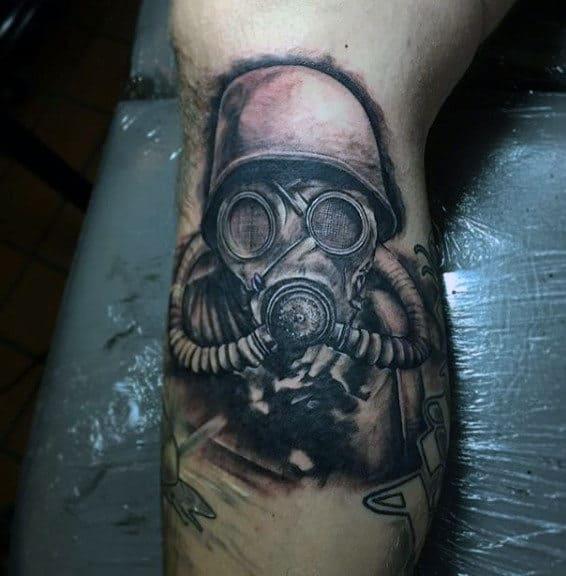 Military Mens Leg Calf Gas Mask Tattoos