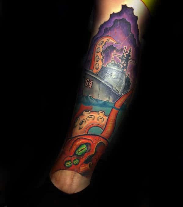 Military Navy Ship And Kraken Guys Leg Sleeve Tattoo Design Ideas