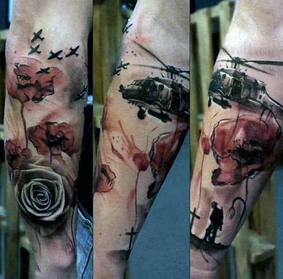 Military Poppy Rose Tattoo For Men On Lower Forearm