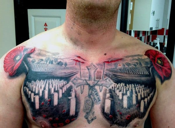 Cemetery Graves Military Red Poppy Remembrance Tattoos Men