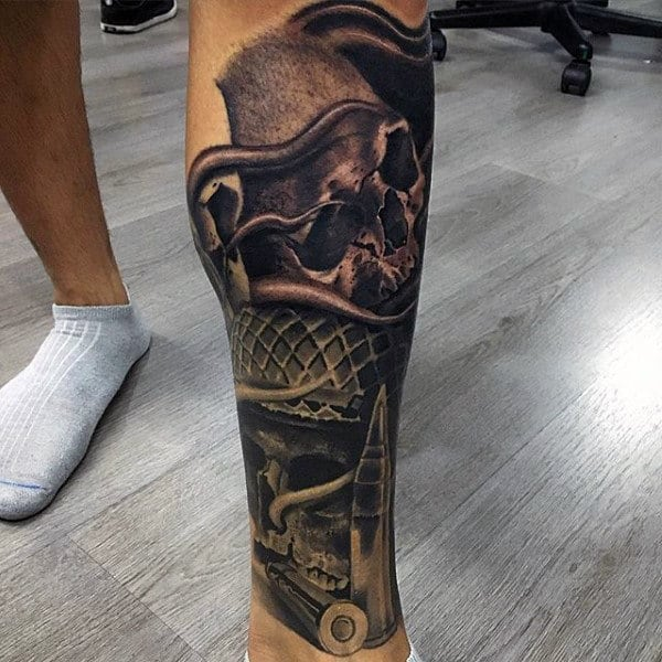 Military Skulls With Battle Helmets Crazy Guys Leg Sleeve Tattoos