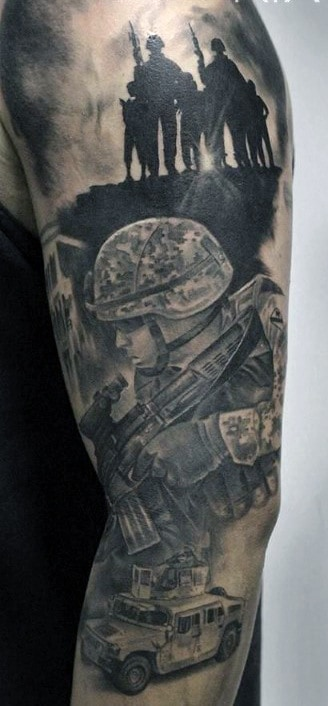 Military Solider Army Mens Half Sleeve Tattoos