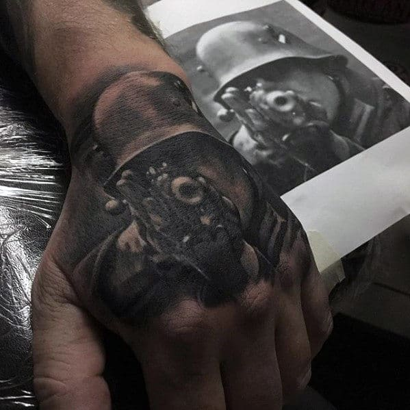 Military Solider Badass Male Hand Tattoo