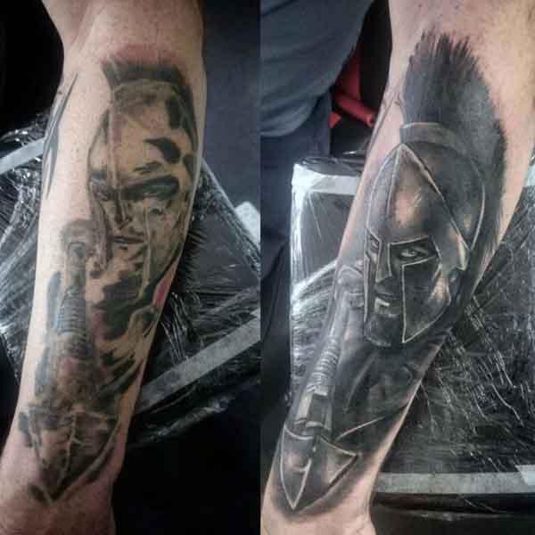 Military Spartan Men's Tattoo