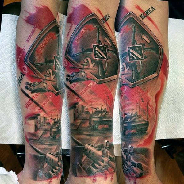 Military Trash Polka Guys Leg Tattoo Designs