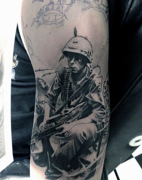 Black Ink Military Tribute Tattoos For Men