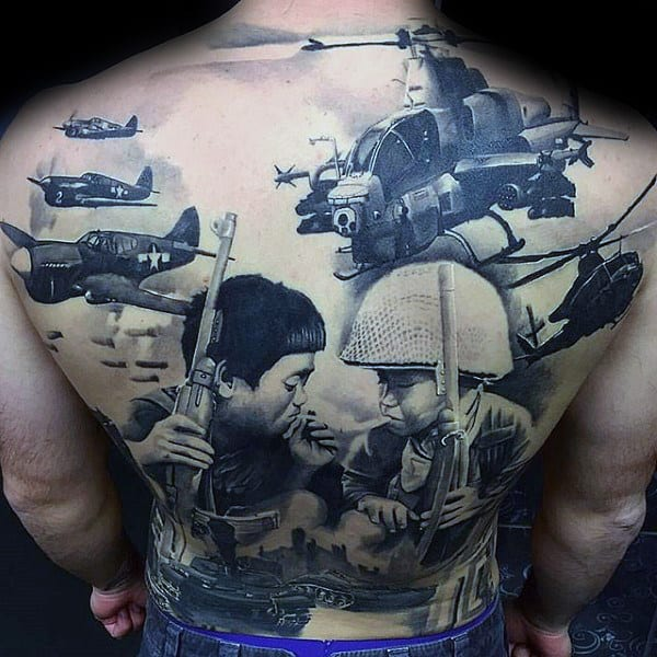 Military War Guys Crazy Full Back Tattoos