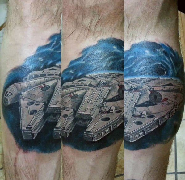 Millennium Falcon Tattoo Design On Man