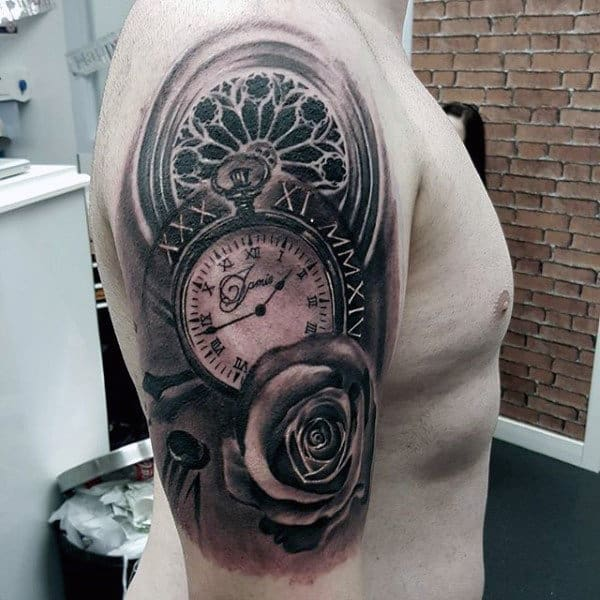 Mind Blowing Pocket Watch Design Tattoo Mens Upper Arms