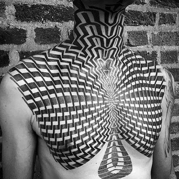 Mind Boggling Pattern Tattoo Male Chest