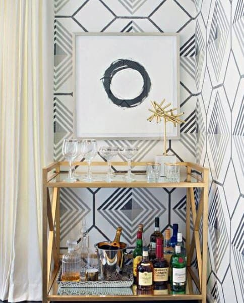 Mini Bar Ideas Gold Modern Cart