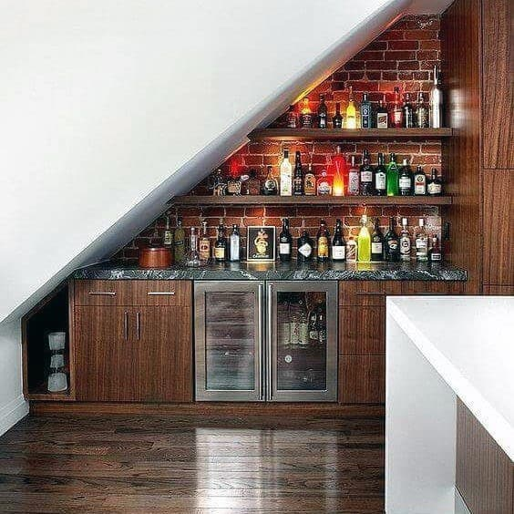 Mini Bar Under Stairs Design Idea Inspiration