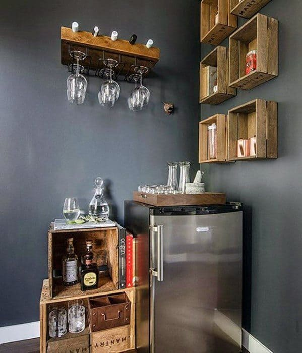Mini Bar Wood Storage Bo Man Cave Ideas