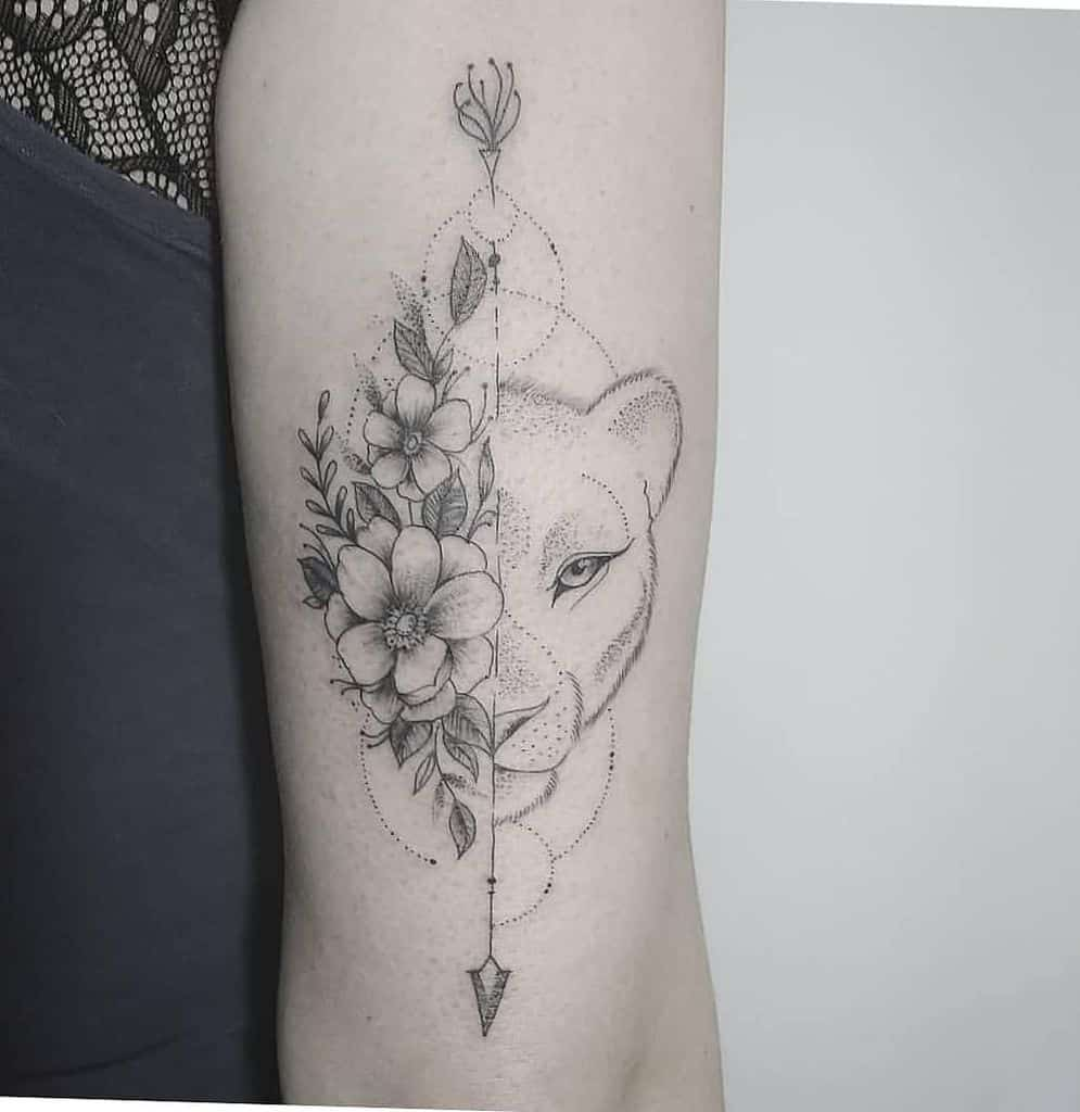 Mini Half Face Lion Tattoo