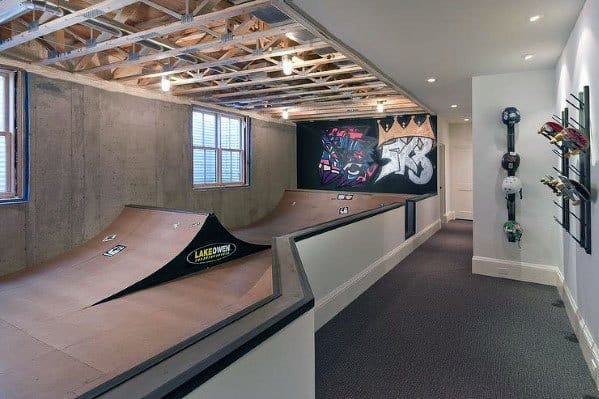 Mini Skatepark Finished Basement Ideas With Wood Ramps And Exposed Ceiling