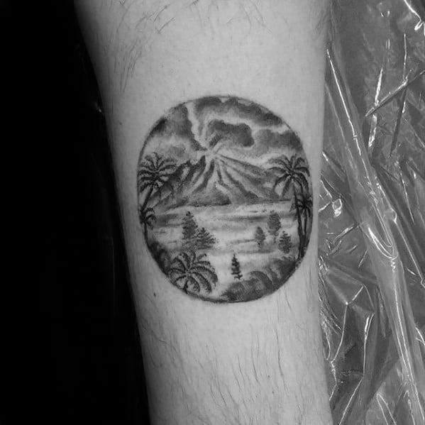 Mini Small Detailed Forearm Guys Volcano Tattoos