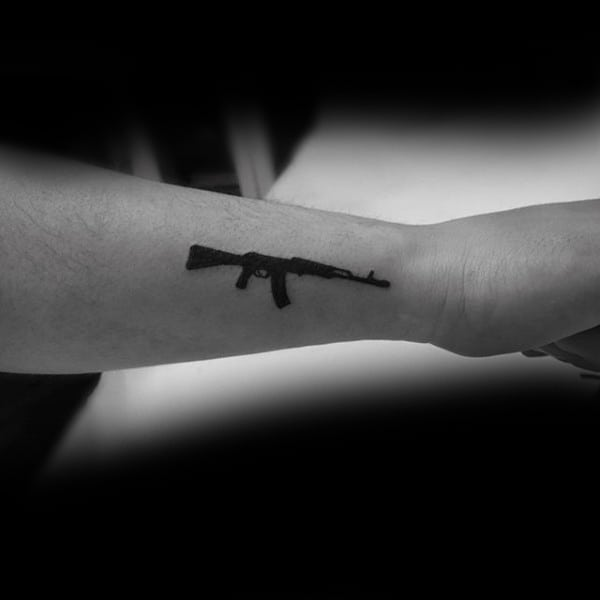 Ak 47 Tattoo On Back