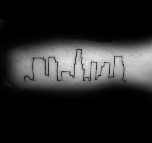 Minimaistic Los Angeles Skyline Tattoo Ideas For Males