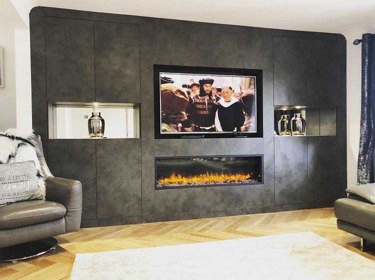 Minimalist Fireplace Entertainment Center