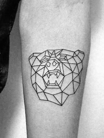 Minimalist Geometric Bear Forearm Tattoos For Guys