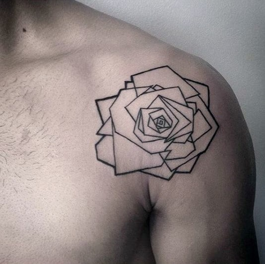Minimalist Geometric Rose Guys Shoulder Tattoo Designs