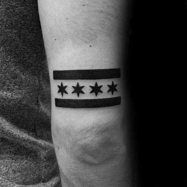 Minimalist Guys Black Ink Chicago Tricep Tattoo