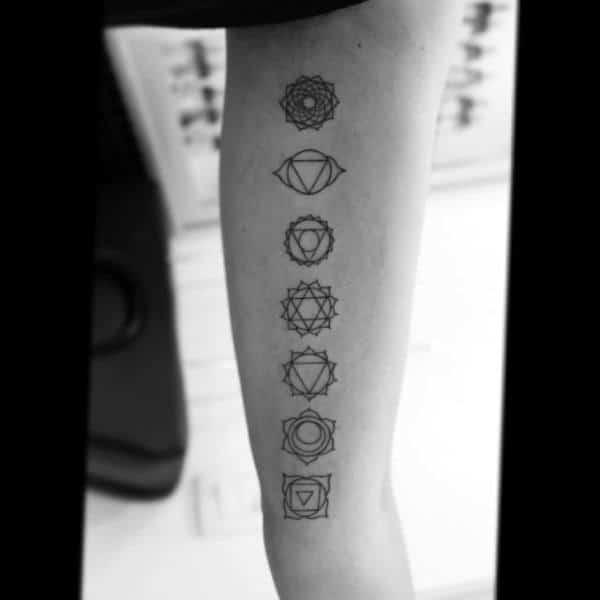 Minimalist Guys Chakras Inner Forearm Tattoos