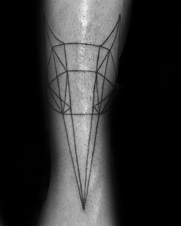 Minimalist Guys Geometric Wolf Forearm Tattoo