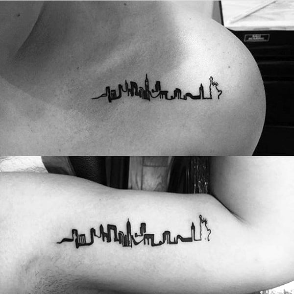 Minimalist Guys Skyline Building Collar Bone Tattoo Ideas