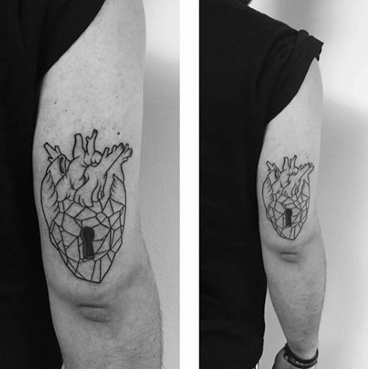 Minimalist Heart Keyhole Tricep Tattoos For Males