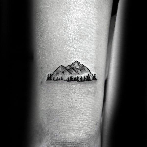 Minimalist Mountain Male Tattoos