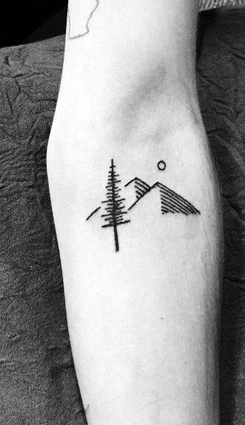 Minimalist Mountain Tattoo Inspiration For Men
