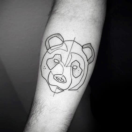 Minimalist Panda Black Ink Outline Tattoos For Guys
