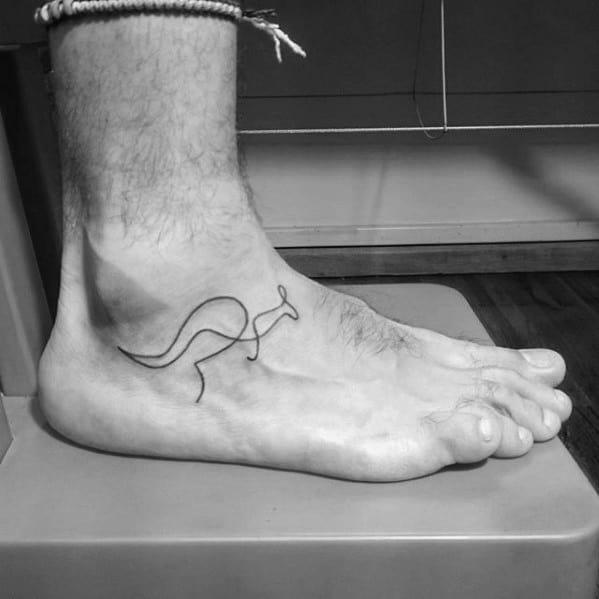 Minimalist Side Of Foot Guys Tattoo Ideas Kangaroo Designs