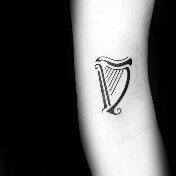 Minimalist Small Forearm Mens Harp Tattoo Designs