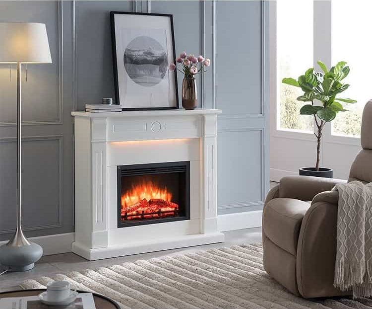 Minimalist White Electric Fireplace Surround Elektrokaminshop