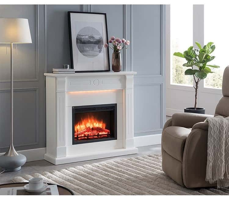Minimalist White Electric Fireplace Surround
