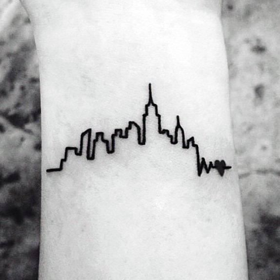 Minimalistic Guys New York Skyline Tattoo Design Ideas