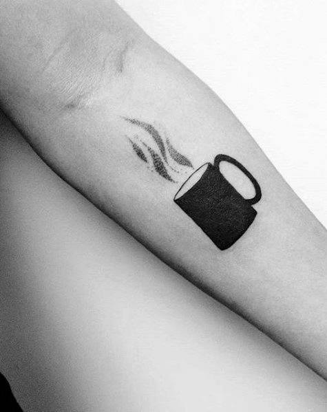Minimalistic Inner Forearm Small Coffee Cup Mens Tattoo Designs
