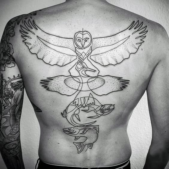 Minimalistic Mens Black Ink Outline Owl Tattoo Designs