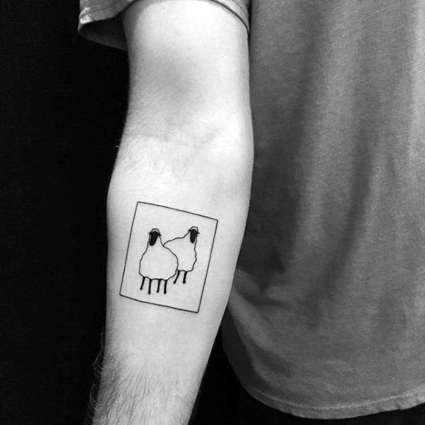 Minimalistic Simple Inner Forearm Square Guys Sheep Tattoo Deisgns