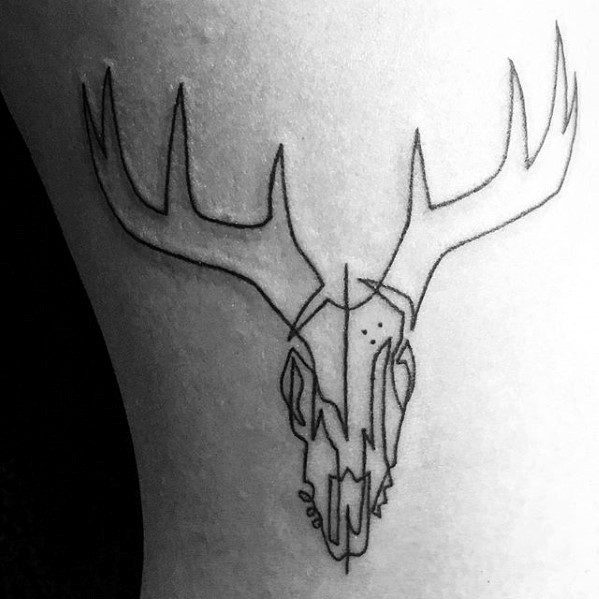Minimalistic Small Animal Deer Skull Tattoo For Men
