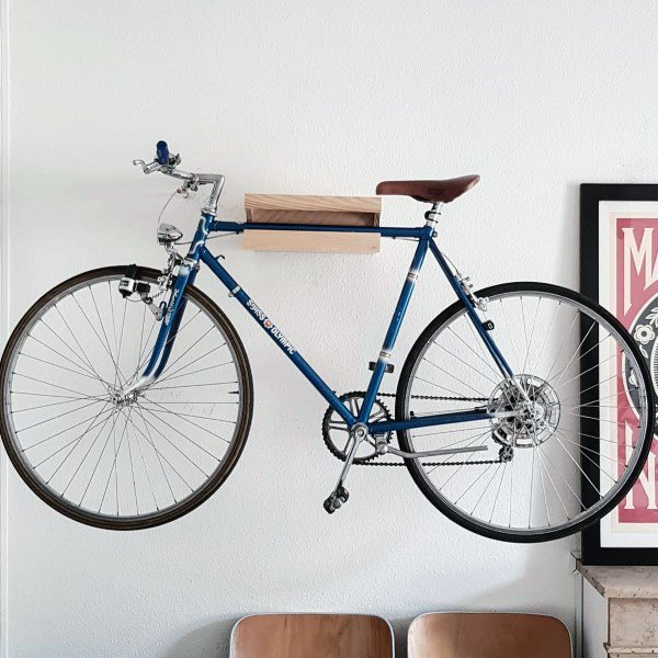 Minimalistic Wood Holder Bicycle Storage Wall Decor Ideas