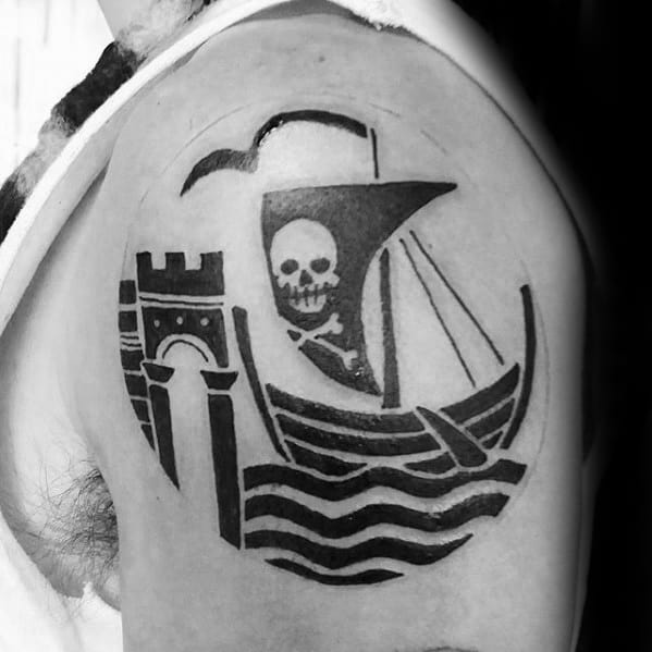 Minmalist Pirate Flag Guys Shoulder Cap Tattoo
