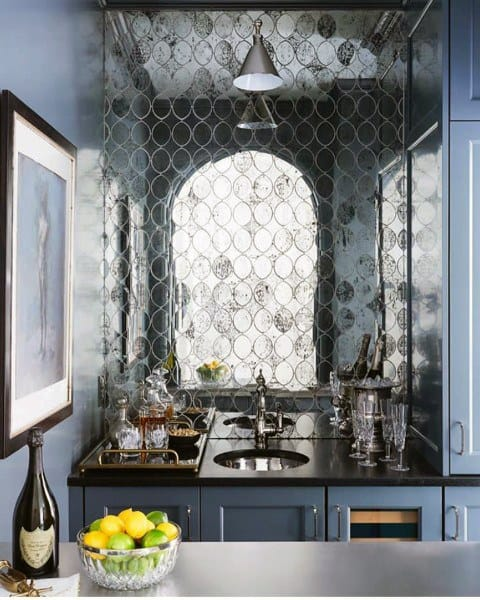 Mirror Tile Wet Bar Sink Ideas
