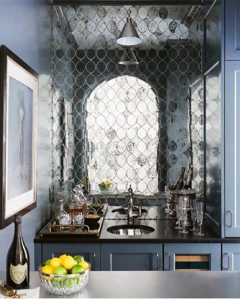 Mirror Tile Wet Bar Sink Ideas