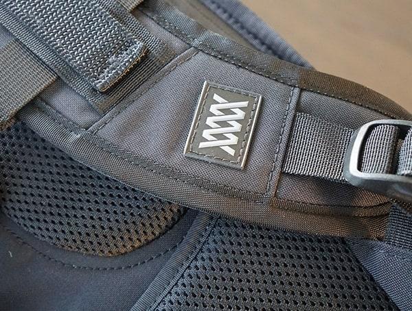Mission Workshop The Rhake Tag Detail On Backpack