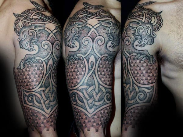 Mjolnir Dotwork Guys Pattern Half Sleeve Norse Tattoos