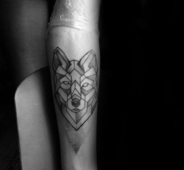 Mle With Geometric Wolf Tattoo On Inner Forearm With Dotwork Shading