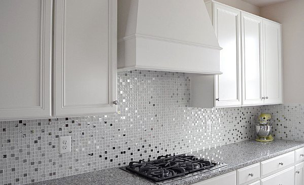 Moasic Metallic Metal Backsplash Ideas With White Kitchen Cabinets